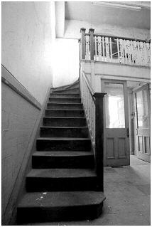 Stairs leading to what was the library of the school