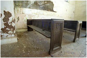 Despite the neglect, the pews of the Chapel appear to be in good condition
