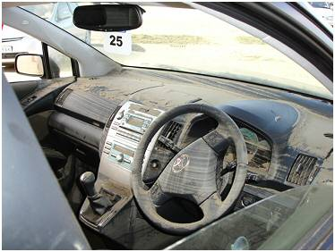 Interior of car after the floods