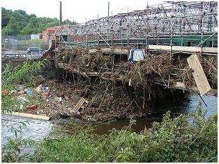 Debris on footbridge over the river Don