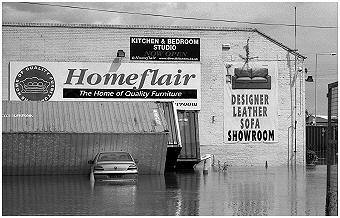 Flooded furniture store
