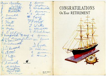 Ivy's retirement card  in 1965. Photo: Barbara & Ken Carr