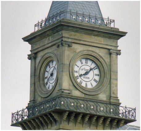 The new face of the clock tower
