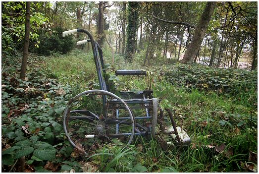 Old rusty wheelchair