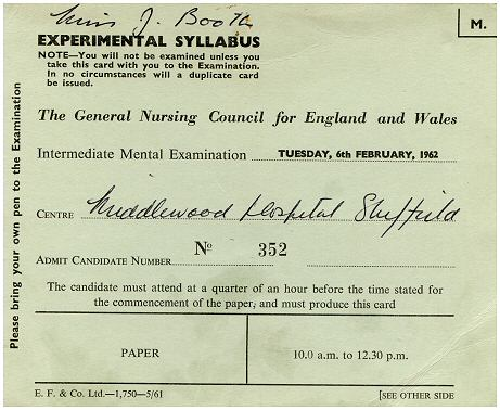 Intermediate Mental Examination card