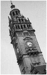 (S2C)   The clock tower of Sheffield Town Hall. Completed in 1896. It stands 210ft tall with a bronze statue on top