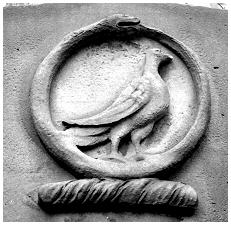 Snake and Dove engraved at the top of the Mausoleum